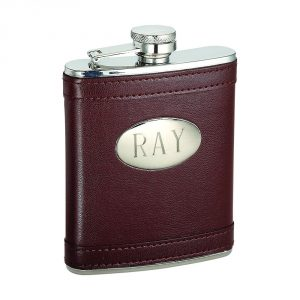 engraved leatherette flask